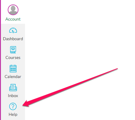 Location of Help link from within Canvas