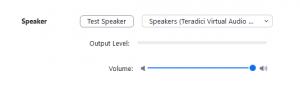 Zoom speaker settings