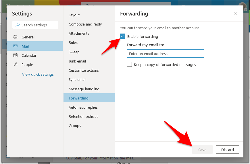 Settings location for enabling forwarding email