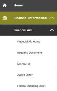 Financial Aid Expanded Navigation