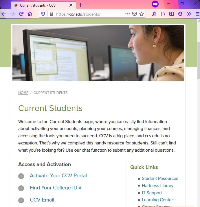 Snapshot of ccv.edu