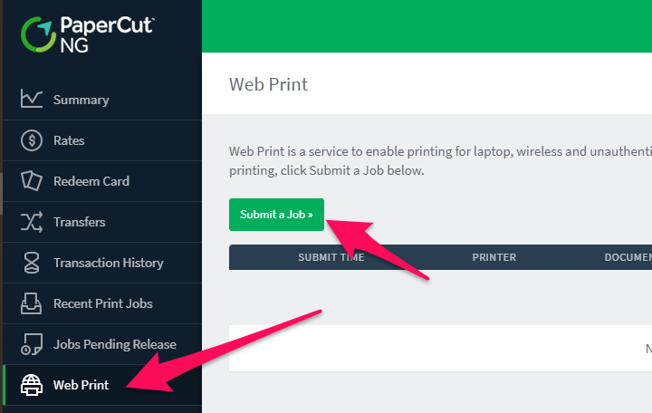 PaperCut Web Print interface